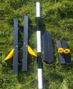 black agility practice jump collapsed in garden
